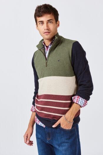 Sweater medio cierre a cuatro colores de lana mezcla