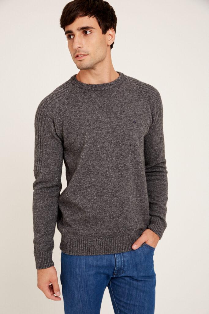 Sweater escote O mangas ranglan de lana