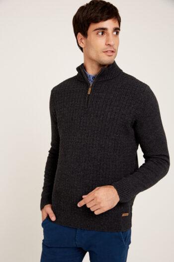 Sweater medio cierre con cuadraditos de lana y algodón