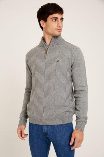 Sweater medio cierre de lana gruesa
