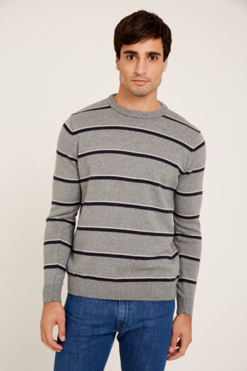 Sweater escote O a rayas de lana gruesa