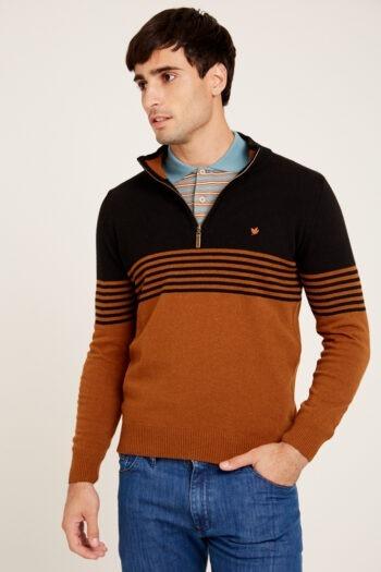 Sweater medio cierre a dos colores de lana acrilica