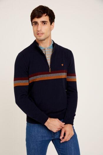 Sweater medio cierre a cuatro colores de lana acrilica
