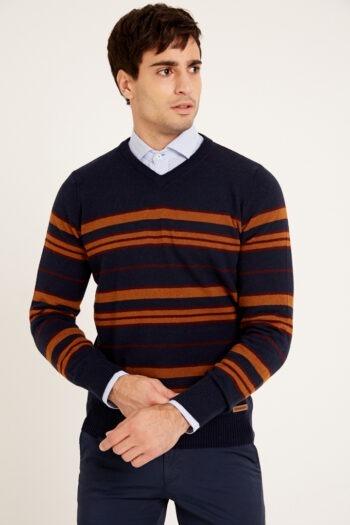 Sweater escote v rayado a contratono de lana acrilica