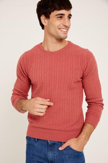 Sweater cuello O con ochos de lana acrilica