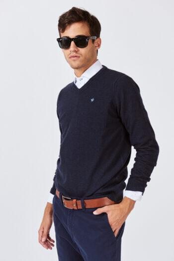 Sweater escote V de lana mezcla