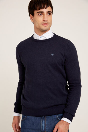 Sweater escote O liso de lana mezcla