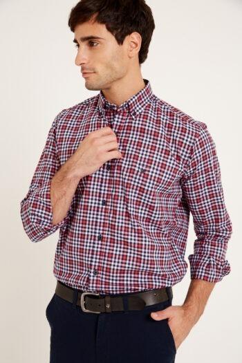 Camisa mangas largas regular fit a cuadros de algodon pima