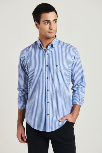Camisa regular fit mangas largas a rayas de algodón