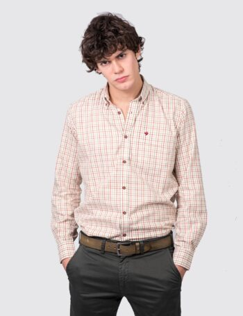 Camisa regular fit mangas largas a cuadros de algodón