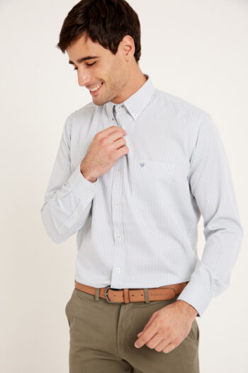 Camisa mangas largas regular fit a rayas de algodón