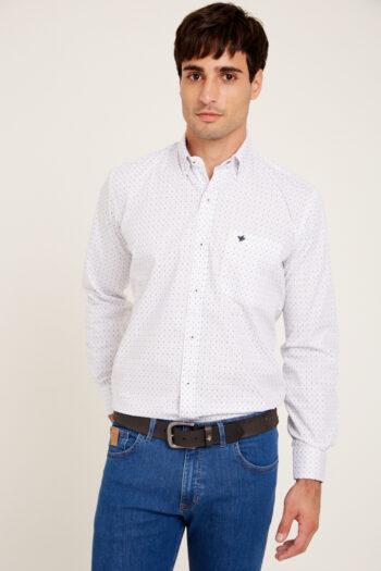 Camisa mangas largas regular fit doble rayita de algodón