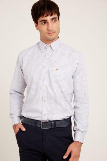 Camisa regular fit mangas largas a rayas de algodón y poliester
