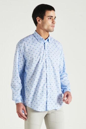 Camisa regular fit mangas largas sin bolsillo estampada de algodón