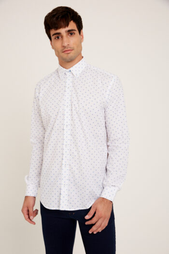 Camisa mangas largas regular fit estampada de algodón pima