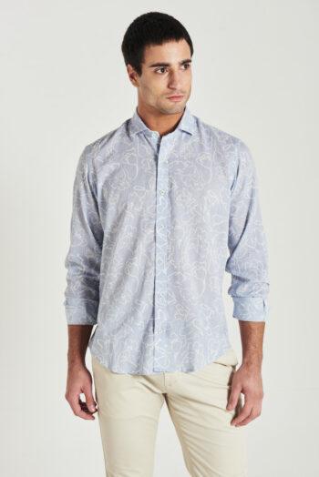 Camisa slim fit mangas largas estampada de lino y algodón