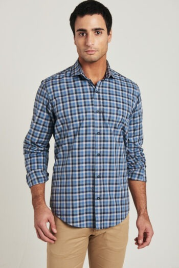 Camisa slim fit mangas largas a cuadros de algodón