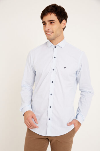 Camisa mangas largas slim fit sin bolsillo mil rayitas de algodon