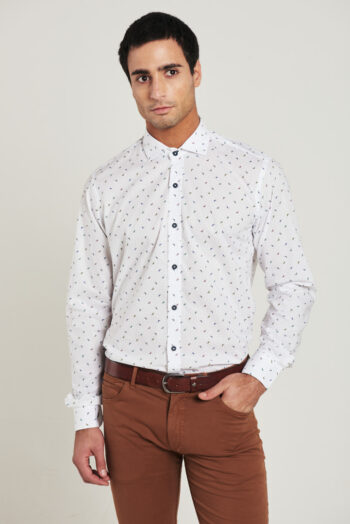 Camisa slim fit mangas largas fantasía sin bolsillo de algodón pima