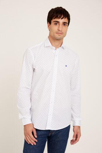 Camisa mangas largas slim fit sin bolsillo estampada de algodón pima