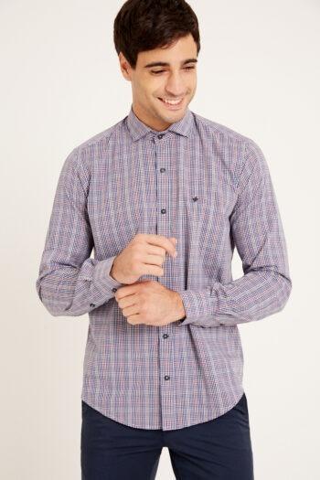 Camisa slim fit mangas largas a cuadros sin bolsillo de algodón y poliester