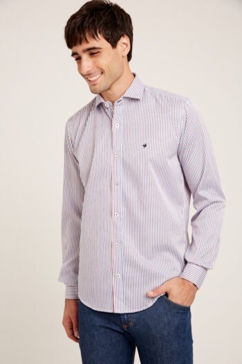 Camisa slim fit mangas largas a rayas sin bolsillo de algodón y poliester