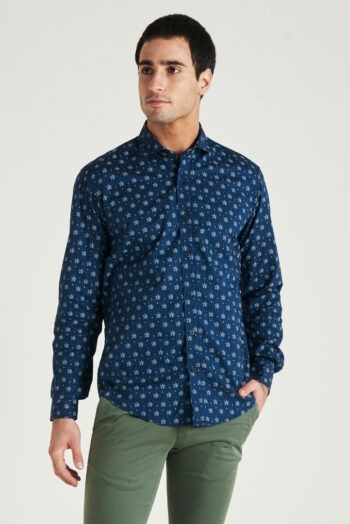 OUTLET Camisa slim fit manga larga de algodón