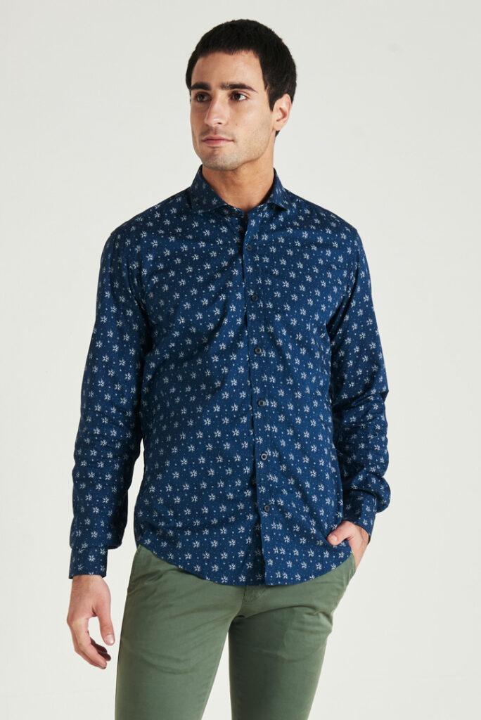OUTLET Camisa slim fit manga larga de algodón