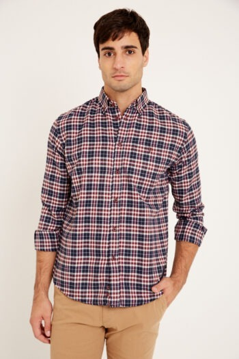 Camisa slim fit mangas largas a cuadros de villela