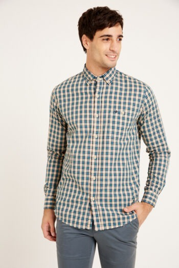 Camisa mangas largas slim fit relax con bolsillo a cuadros de algodón