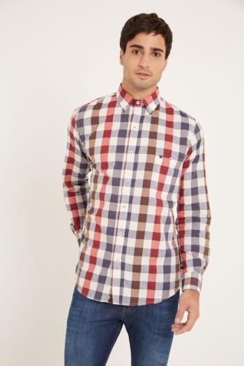 Camisa mangas largas slim fit relax con bolsillo a cuadros de algodon pima