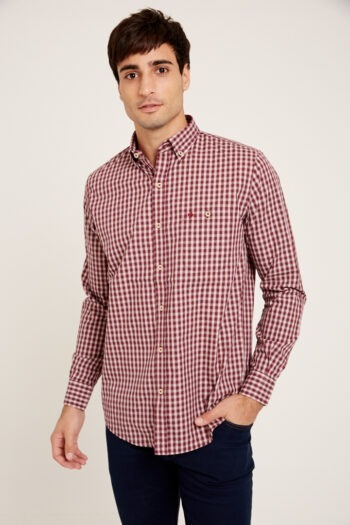 Camisa mangas largas slim fit relax con bolsillos a cuadros de algodon