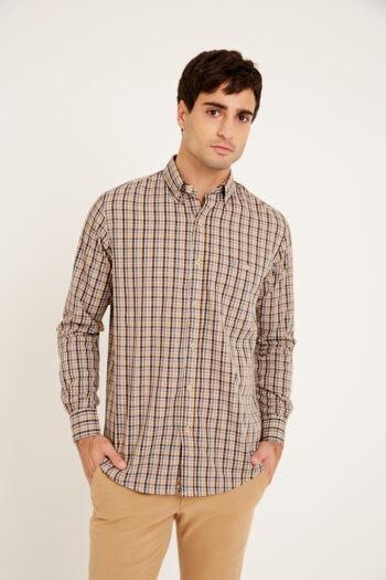 Camisa relaxed fit mangas largas a cuadros con bolsillo de algodón