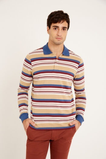 Polo mangas largas rayada de jersey
