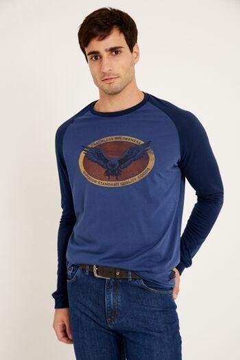 Remera mangas ranglan combinada con estampa de jersey