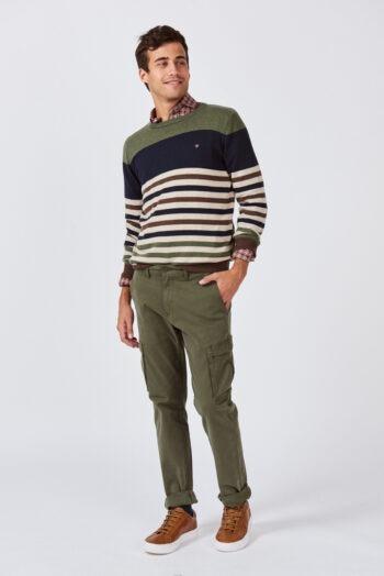Sweater escote O a rayas de lana mezcla