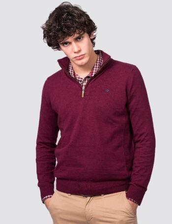 Sweater medio cierre liso con punto lateral de astilana mezcla