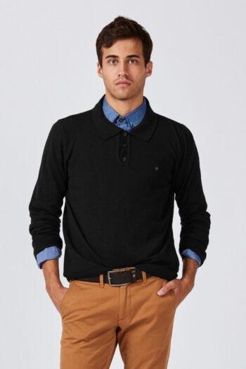 Sweater cuello polo de lana mezcla