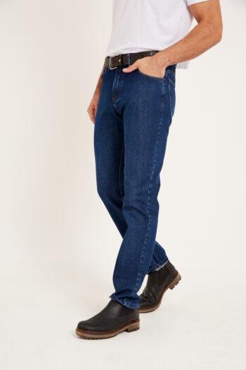 Jean sin pinzas relax fit de indigo azul gastado