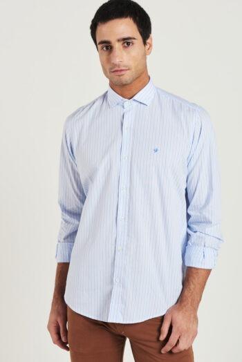 Camisa slim fit mangas largas a rayas de algodón