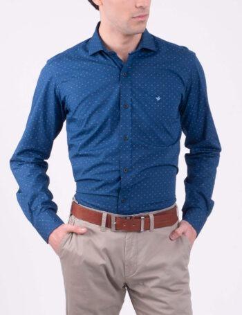 Camisa slim fit mangas largas estampada de algodón