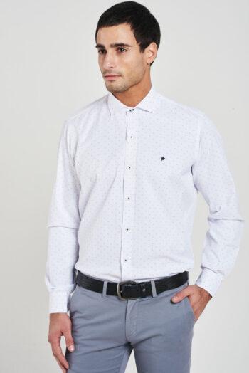 Camisa slim fit mangas largas fantasía sin bolsillo de algodón y poliester