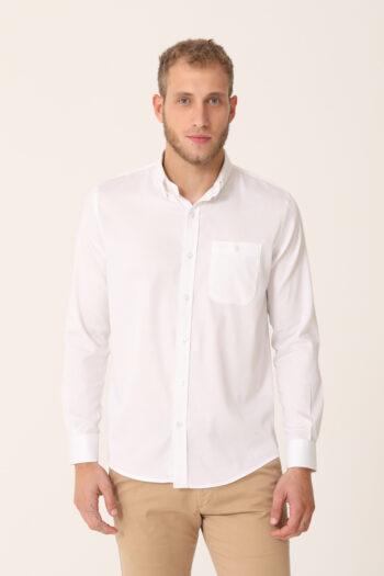Camisa lisa slim plus fit de satén