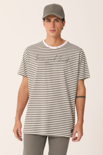 T-shirt rayada estampa SUN AND SURF de jersey